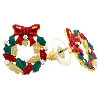 Goldtone Crystal Christmas Wreath Earrings