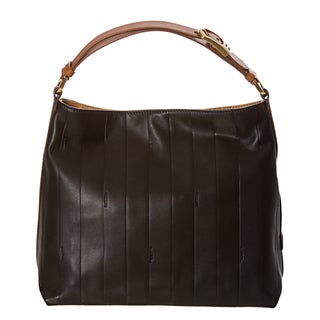 Fendi 'Pequin' Black Tonal-stripe Leather Hobo Bag