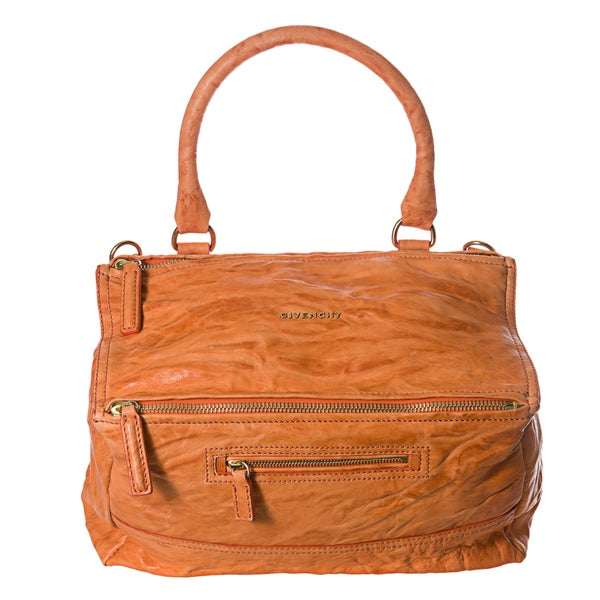 Givenchy 'Pepe Pandora' Medium Orange Crinkle Leather Satchel