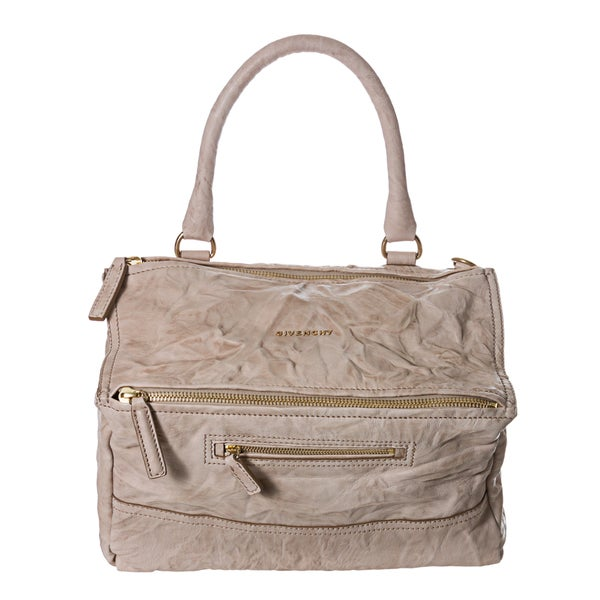 Givenchy 'Pepe Pandora' Medium Ivory Crinkle Leather Satchel