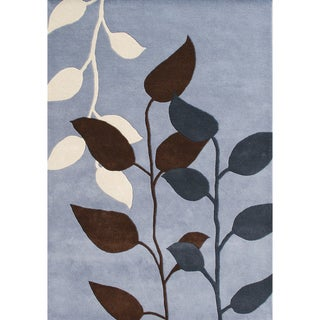 Hand-tufted Dust Blue Wool Rug (9' x 12')