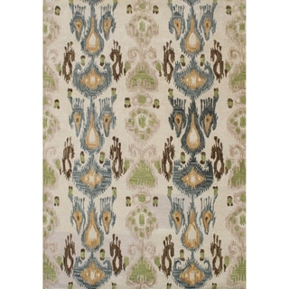Alliyah Handmade Parrot Green, Beige, Fair Brown, Sun Orange, and Charcoal Blue New Zealand Blend Wool Rug (9' x 12')
