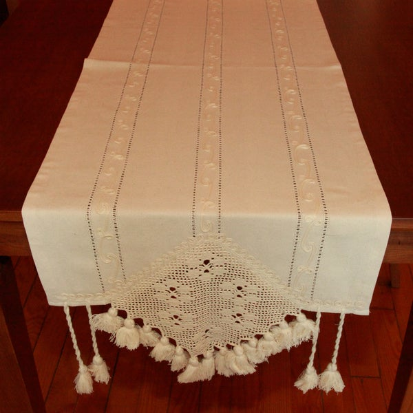 Authentic Turkish 70-inch Rectangular Tassel Edge Table Runner