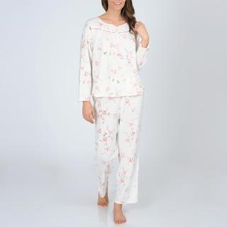 La Cera Women's Ivory and Pink Floral Knit Pajama Set