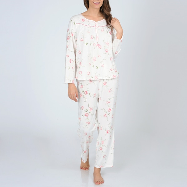 La Cera Women's Ivory and Pink Floral Knit Pajama Set