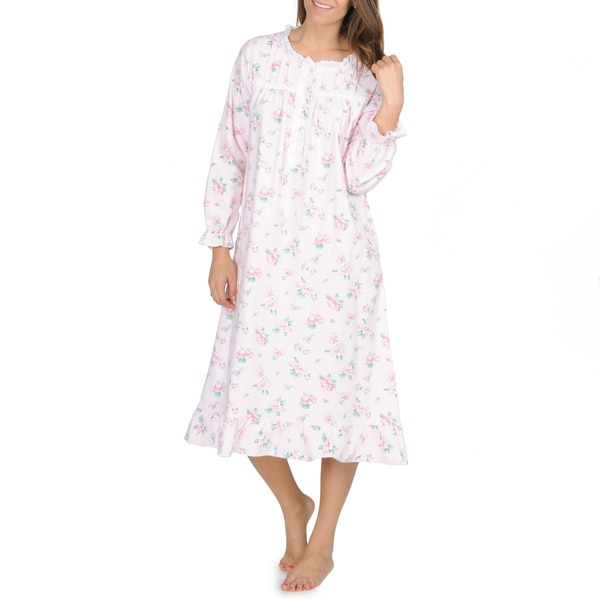 La Cera Women's Pink Floral-Print Flannel Long-Sleeve Nightgown
