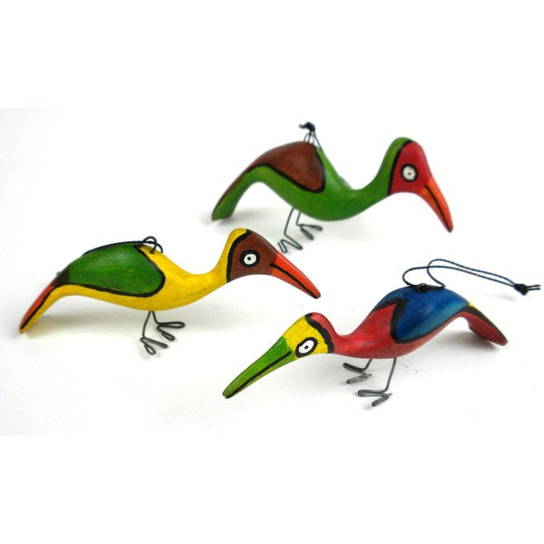 Handmade Holiday Ornament Set of Three Birds (Mozambique)