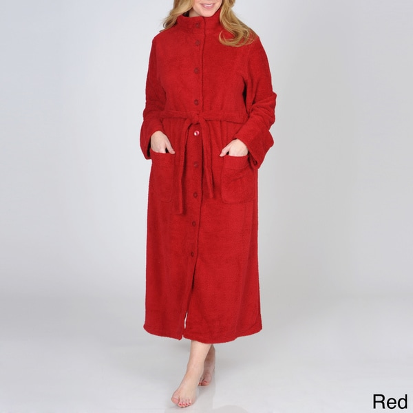 La Cera Women's Plus Size Button-front Fleece Robe