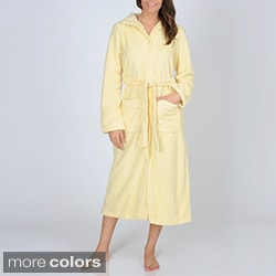La Cera Women's Button-front Fleece Robe