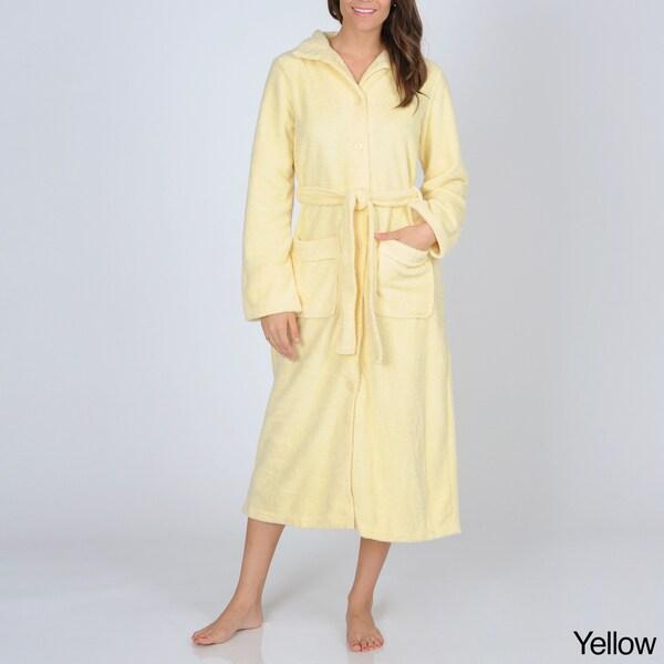 La Cera Women's Button-front Fleece Robe