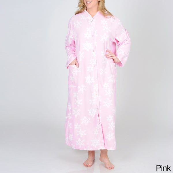La Cera Women's Plus Size Snowflake Print Fleece Robe
