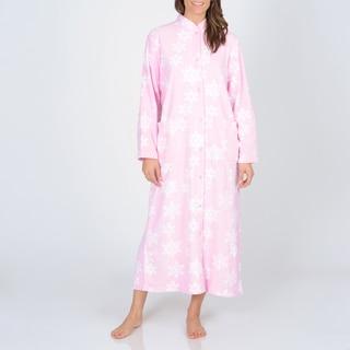 La Cera Women's Snowflake Print Fleece Robe
