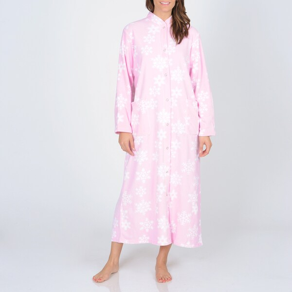 La Cera Women's Snowflake Print Fleece Robe