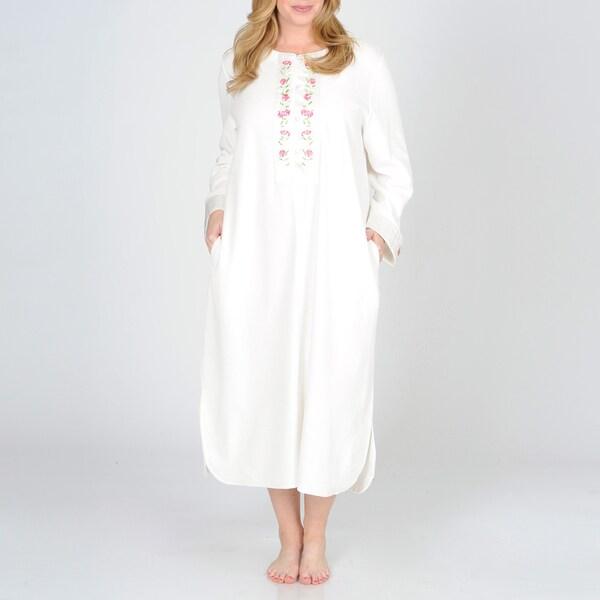 La Cera Women's Plus Size Ivory Floral Embroidered Yoke Lounger