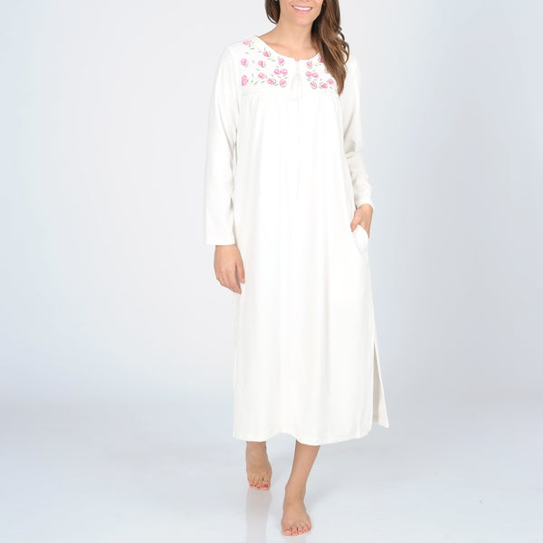 La Cera Women's Ivory Zip-front Floral Embroidered Robe