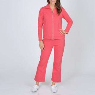 La Cera Women's Raspberry French Terry Jog Set