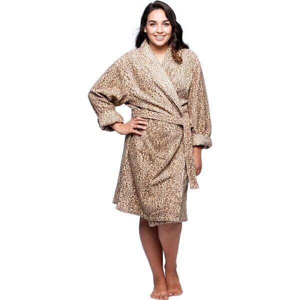 La Cera Women's Plus Size Cheetah Print Fleece Wrap Robe