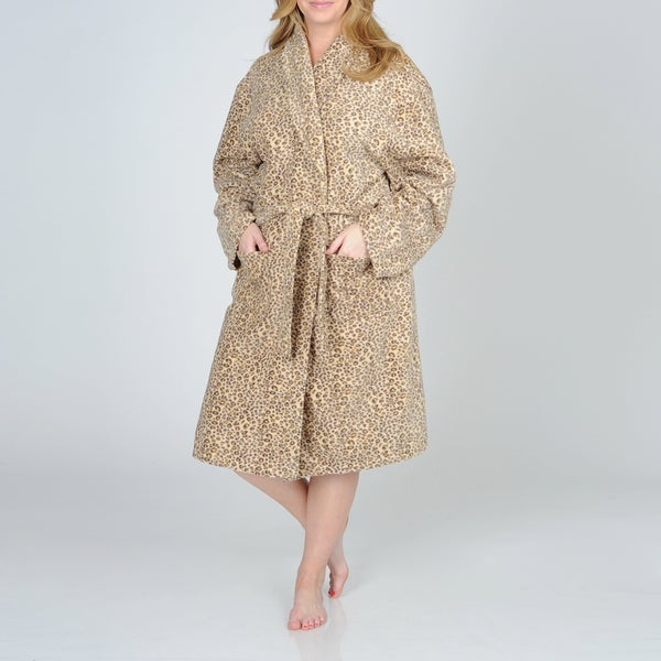 La Cera Women's Plus Size Cheetah Print Fleece Wrap Robe