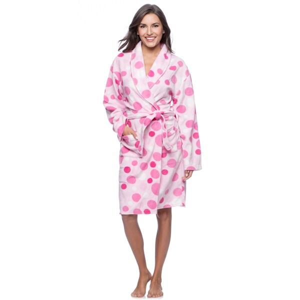 La Cera Women's Polka Dot Print Fleece Wrap Robe