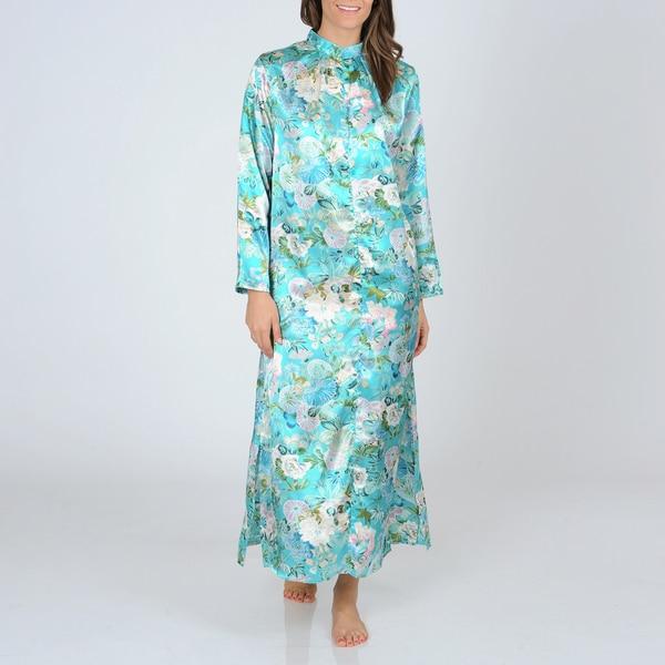 La Cera Women'sTeal Floral Print Zip-front Robe