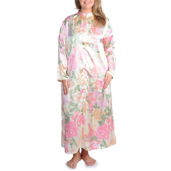 La Cera Women's Plus Size Pink Floral Print Zip-front Robe