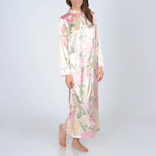 La Cera Women's Pink Floral Print Zip-front Robe