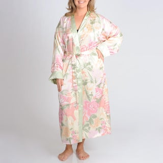 La Cera Women's Plus Floral Print Reversible Robe