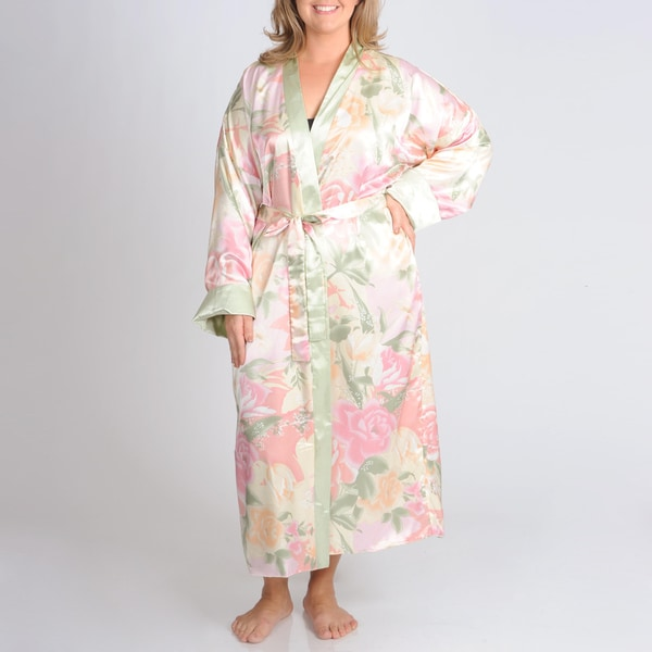 La Cera Women's Plus Floral Print Reversible Robe