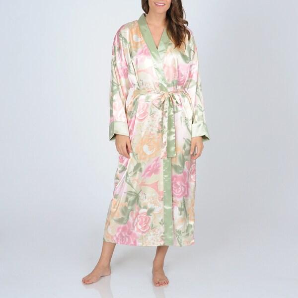 La Cera Women's Pink Floral Print Reversible Robe