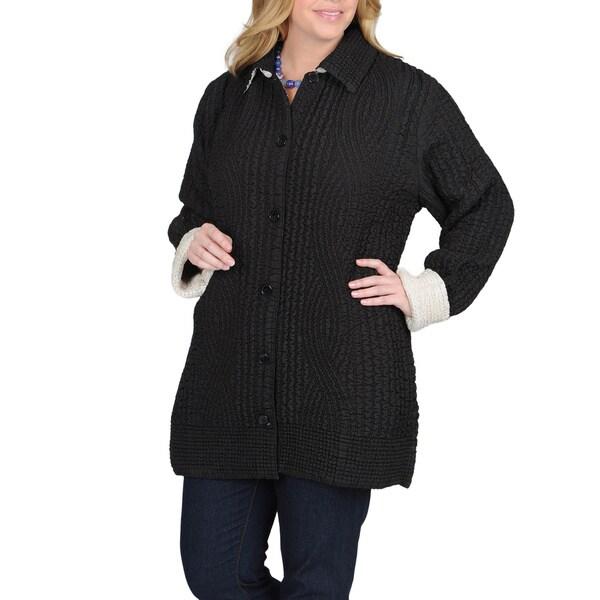 La Cera Women's Plus Size Puckered Reversible Jacket