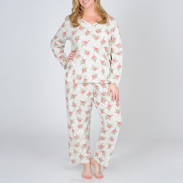La Cera Women's Plus Knit Floral Print Pajama
