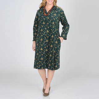 La Cera Women's Plus Size Hunter Floral Print Corduroy Dress