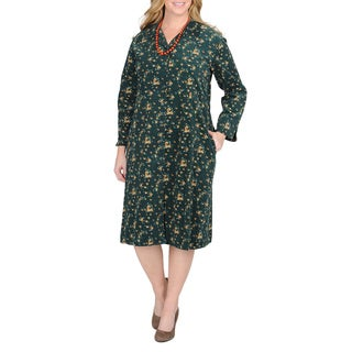 La Cera Women's Plus Size Hunter Floral Print Corduroy Dress