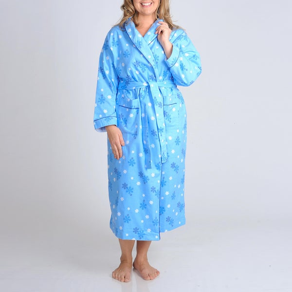 La Cera Women's Plus Size Blue Snowflake Print Flannel Wrap Robe