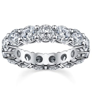 14k White Gold 5ct TDW Round Diamond Eternity Wedding Band (H-I, SI1-SI2)