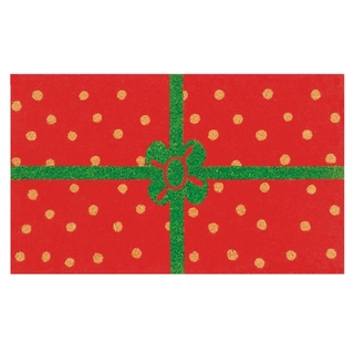 Christmas Package Red/ Green Coir Outdoor Door Mat (1'5 x 2'5)