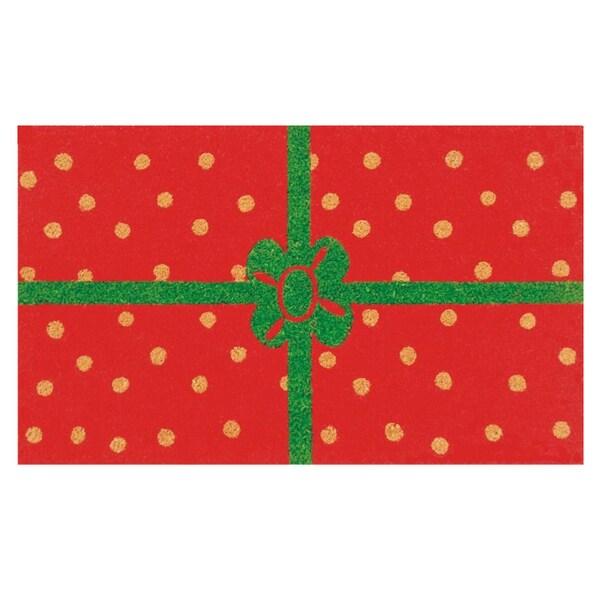 Christmas Package Red/ Green Coir Outdoor Door Mat (1'5 x 2'5)