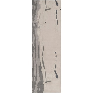 Candice Olson Hand-tufted Richey Grey Abstract Plush Wool Rug (2'6 x 8')