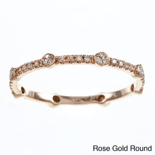 10k Gold Round or Square Stackable Thin Diamond Ring (H-I, I2)