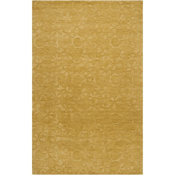 Hand-crafted Solid Floral Buckeye Wool Rug