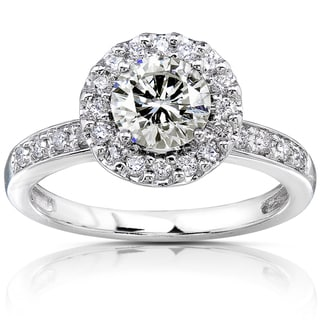 14k White Gold Moissanite and 1/4ct TDW Diamond Engagement Ring (G-H, I1-I2)