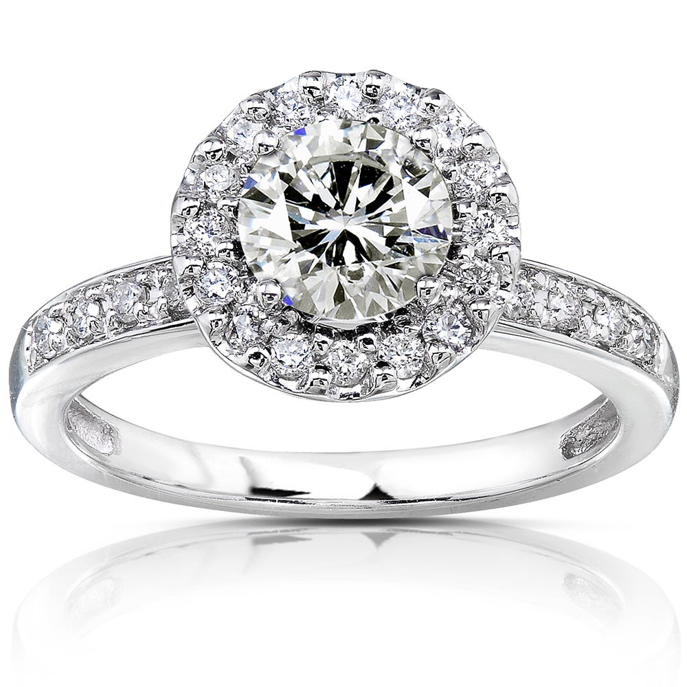 14k Gold Moissanite and 1/4ct TDW Diamond Engagement Ring (G-H, I1-I2) at Sears.com