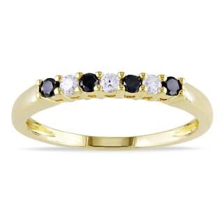 Haylee Jewels 10k Gold 1/4ct TDW Black and White Diamond Ring (H-I, I2-I3)