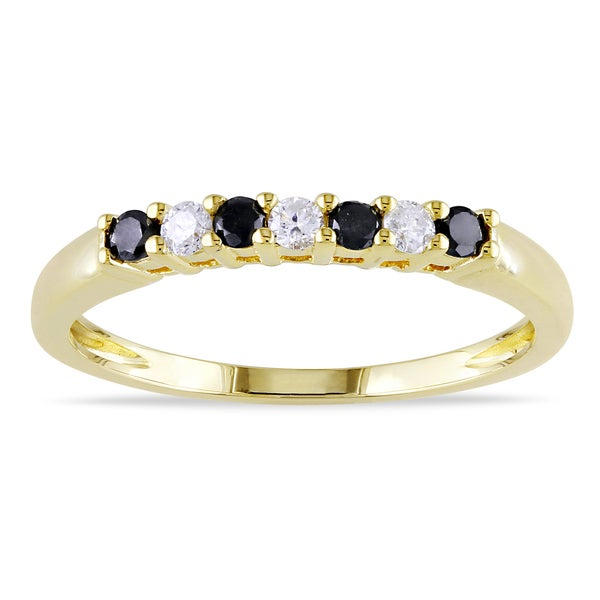 Haylee Jewels 10k Gold 1/4ct TDW Black and White Diamond Ring (H-I, I2-I3)