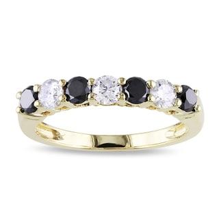 Miadora 10k Gold 1ct TDW Black and White Diamond Ring (H-I, I2-I3)