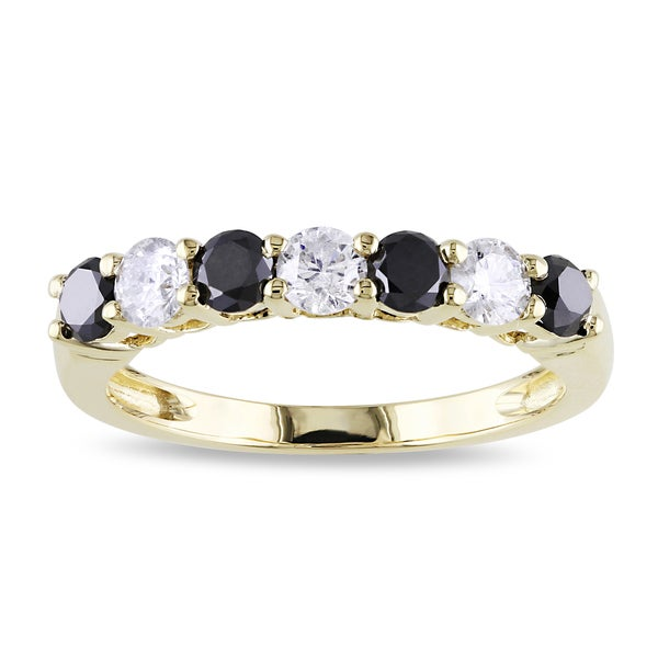 Miadora 10k Gold 1ct TDW Black and White Diamond Ring (H-I, I2-I3)