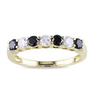 New! Miadora 10k Gold 3/4ct TDW Black and White Diamond Ring (H-I, I2-I3)