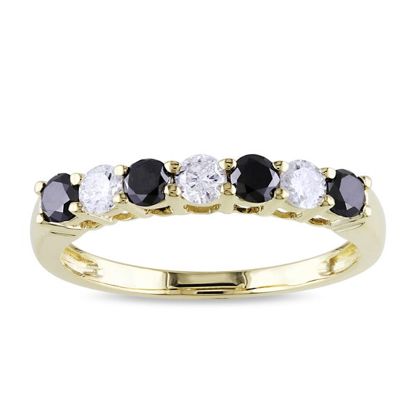 New! Miadora 10k Gold 3/4ct TDW Black and White Diamond Ring (H-I, I2-I3)