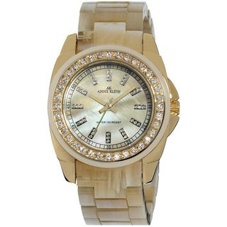 Anne Klein Women's Stainless Steel Beige Plastic Strap Watch