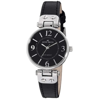 Anne Klein Women's Black Leather Quartz Watch with Black Dial